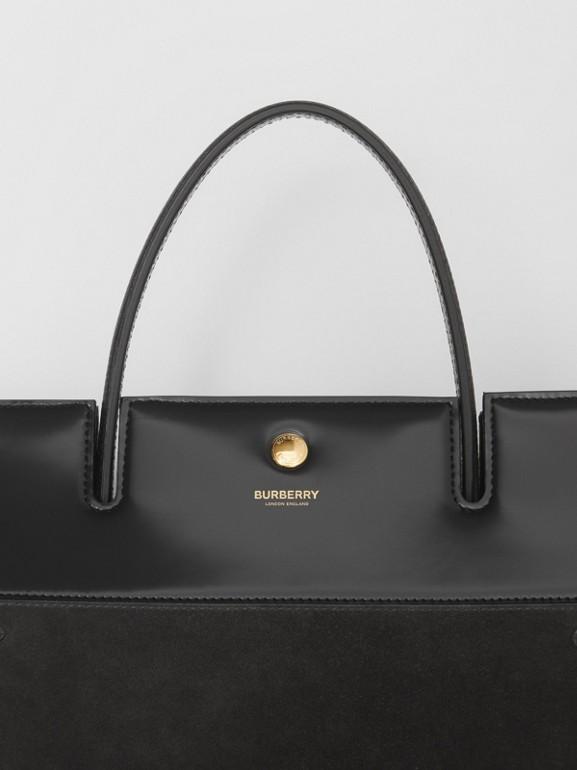 Sac Title moyen en cuir de cerf et cuir velours (Noir) - Femme | Burberry Canada - cell image 1