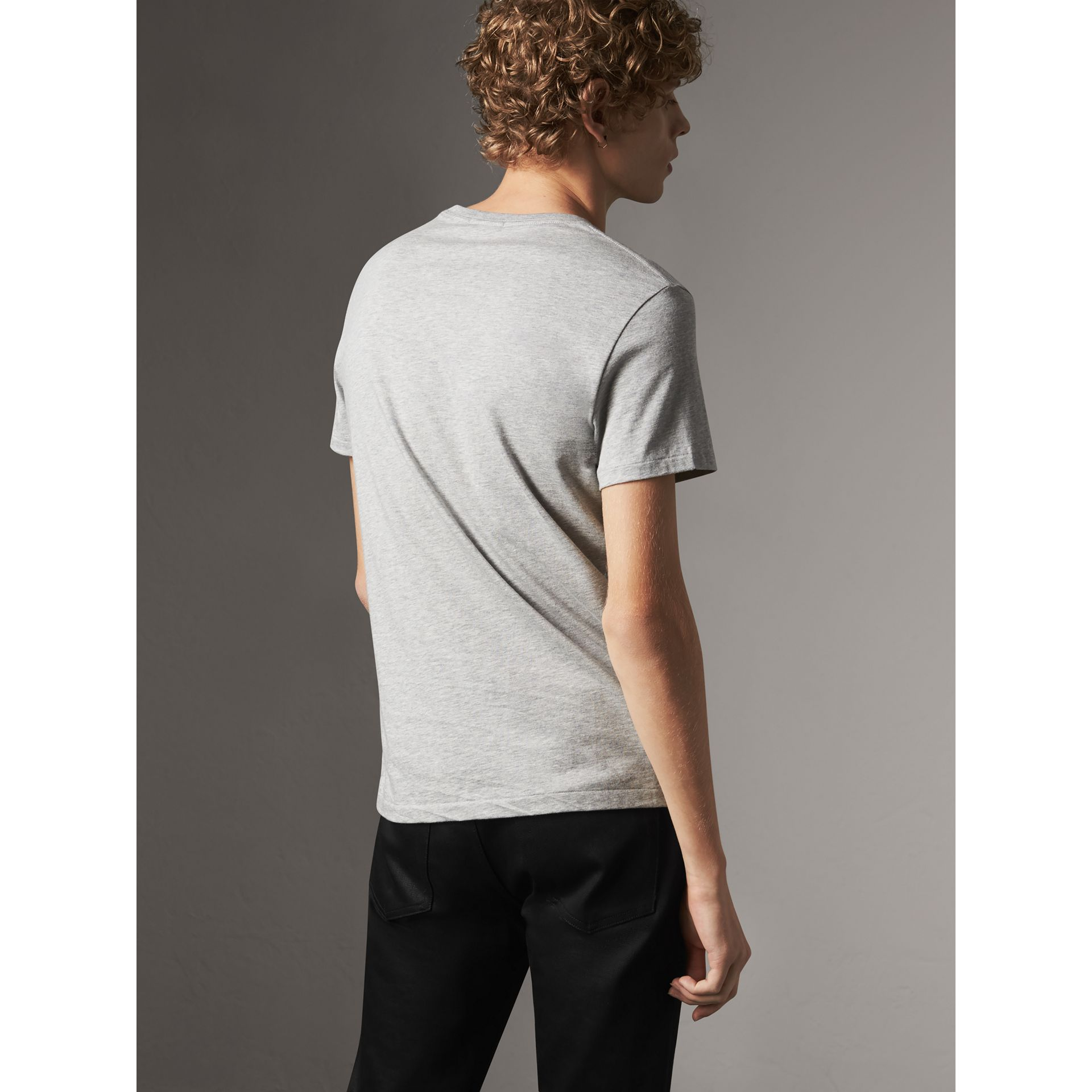 Cotton Jersey T-shirt in Pale Grey Melange - Men | Burberry Canada - gallery image 3