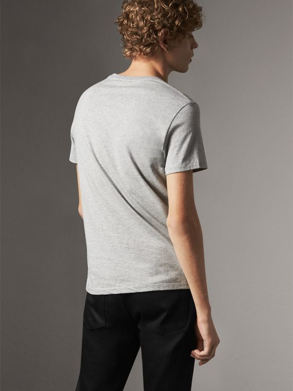 Cotton Jersey T-shirt in Pale Grey Melange - Men | Burberry Australia - cell image 2