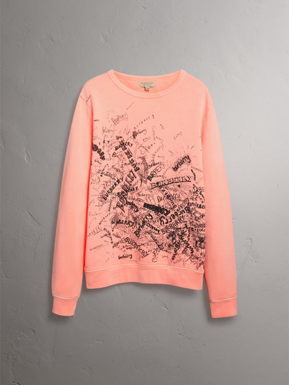 Doodle Print Cotton Sweater in Bright Clementine - Men | Burberry - cell image 3