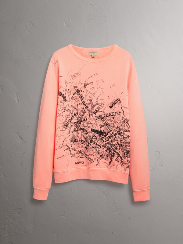 Doodle Print Cotton Sweater in Bright Clementine - Men | Burberry United Kingdom - cell image 3