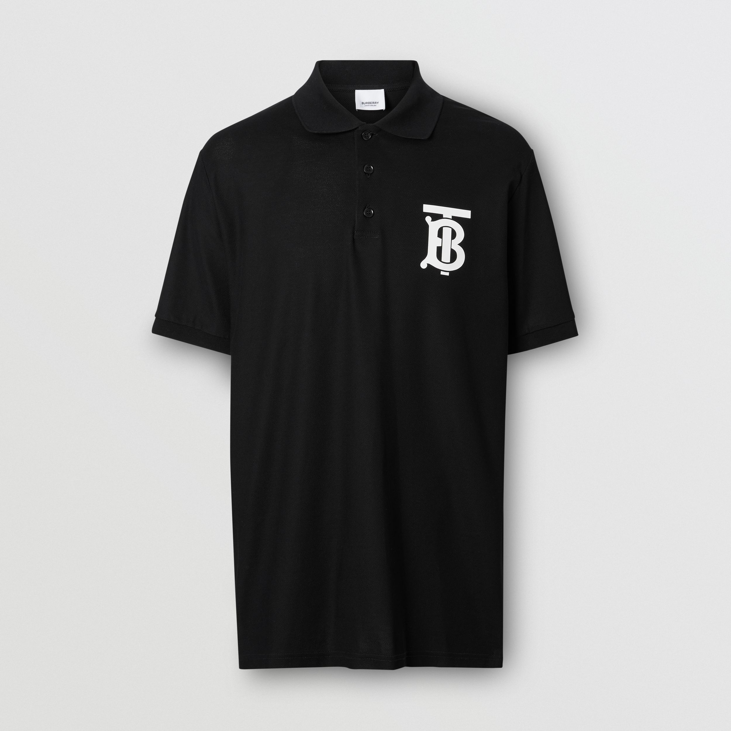 Monogram Motif Cotton Piqué Oversized Polo Shirt in Black - Men | Burberry - 4