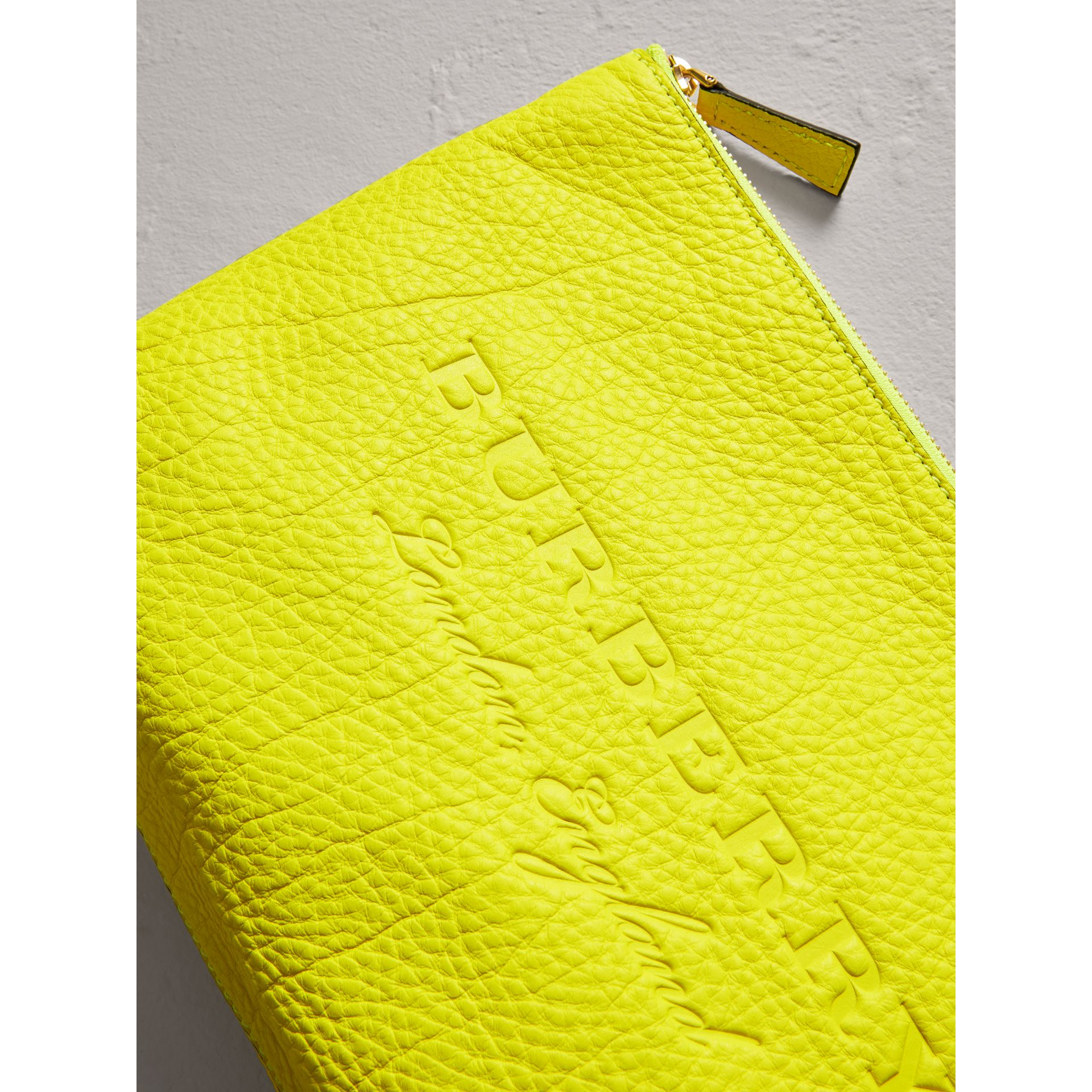 Large Embossed Leather Zip Pouch in Bright Yellow | Burberry - gallery image 1
