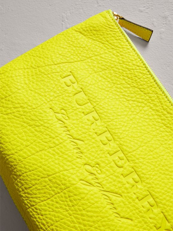 Large Embossed Leather Zip Pouch in Bright Yellow | Burberry - cell image 1