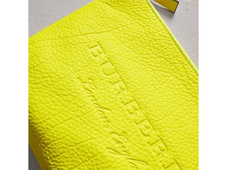 Large Embossed Leather Zip Pouch in Bright Yellow | Burberry Singapore - cell image 1