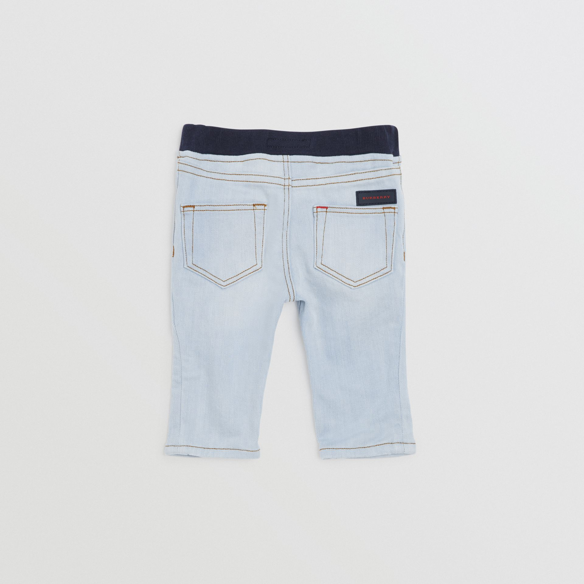 Relaxed Fit Pull-on Stretch Denim Jeans in Light Blue - Children | Burberry United Kingdom - gallery image 3