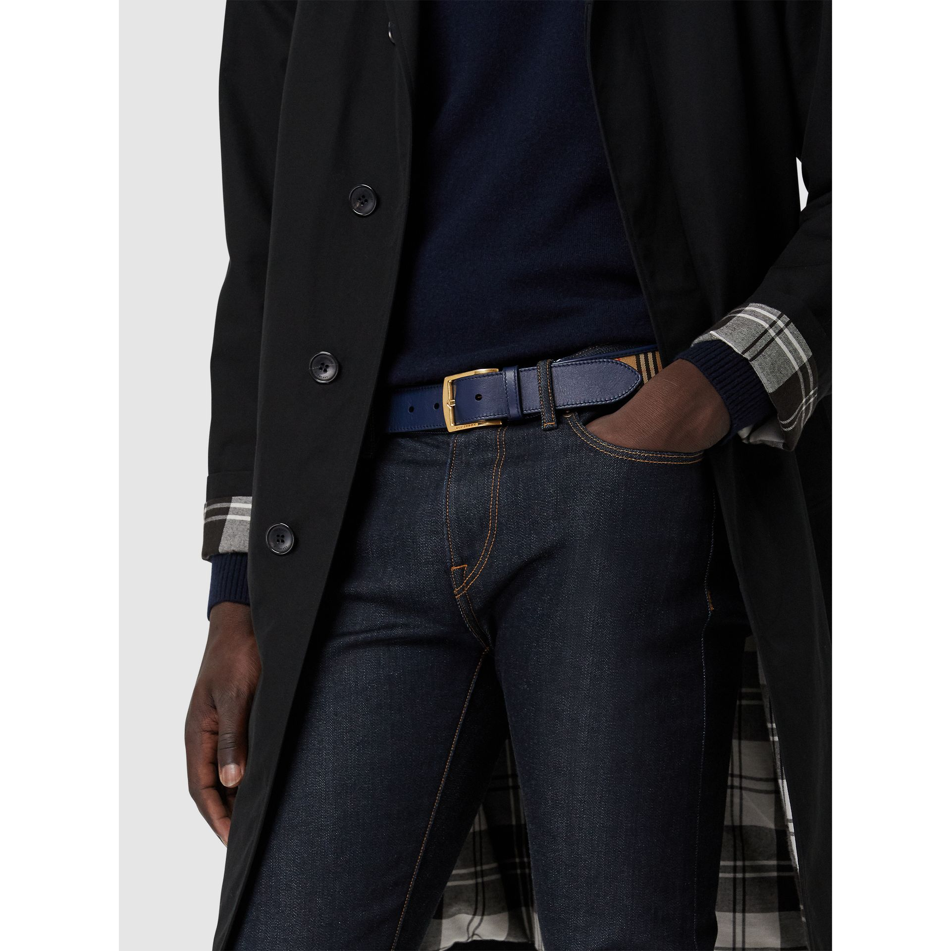 1983 Check and Leather Belt in Ink Blue - Men | Burberry United Kingdom - gallery image 2