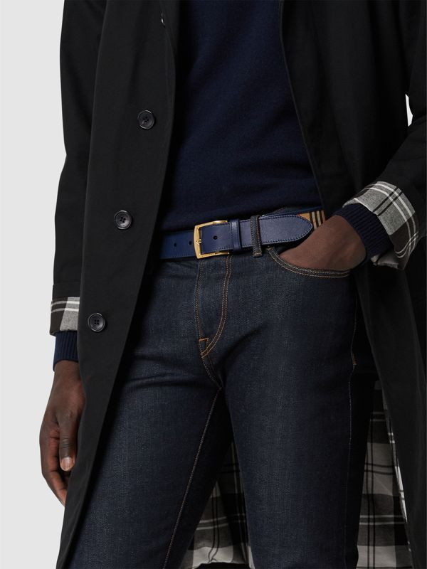 1983 Check and Leather Belt in Ink Blue - Men | Burberry Australia - cell image 2