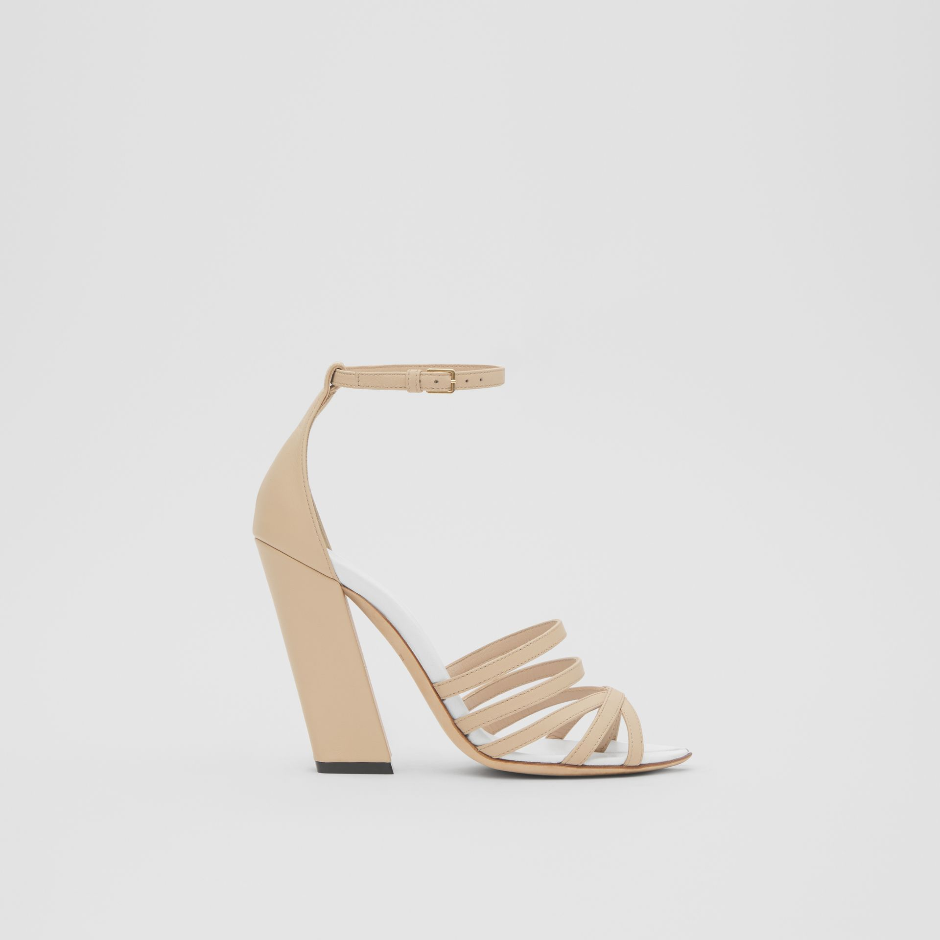 Split-toe Detail Leather Sandals in Soft Fawn - Women | Burberry - gallery image 4