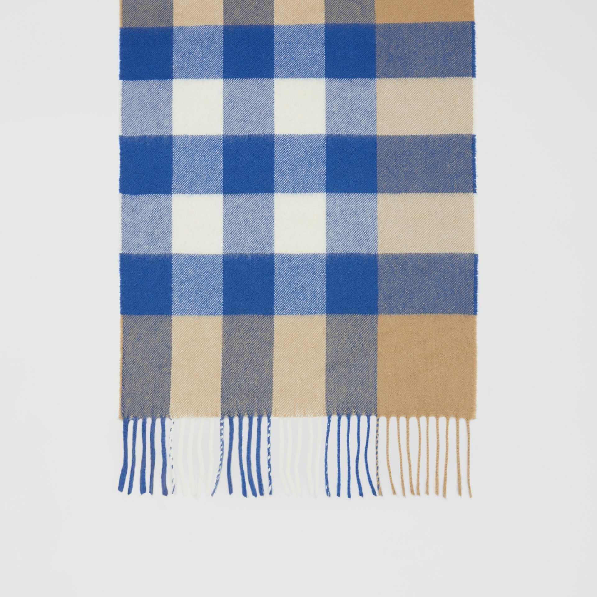 Check Cashmere Scarf in Arc Beige/inky Blue | Burberry - gallery image 4