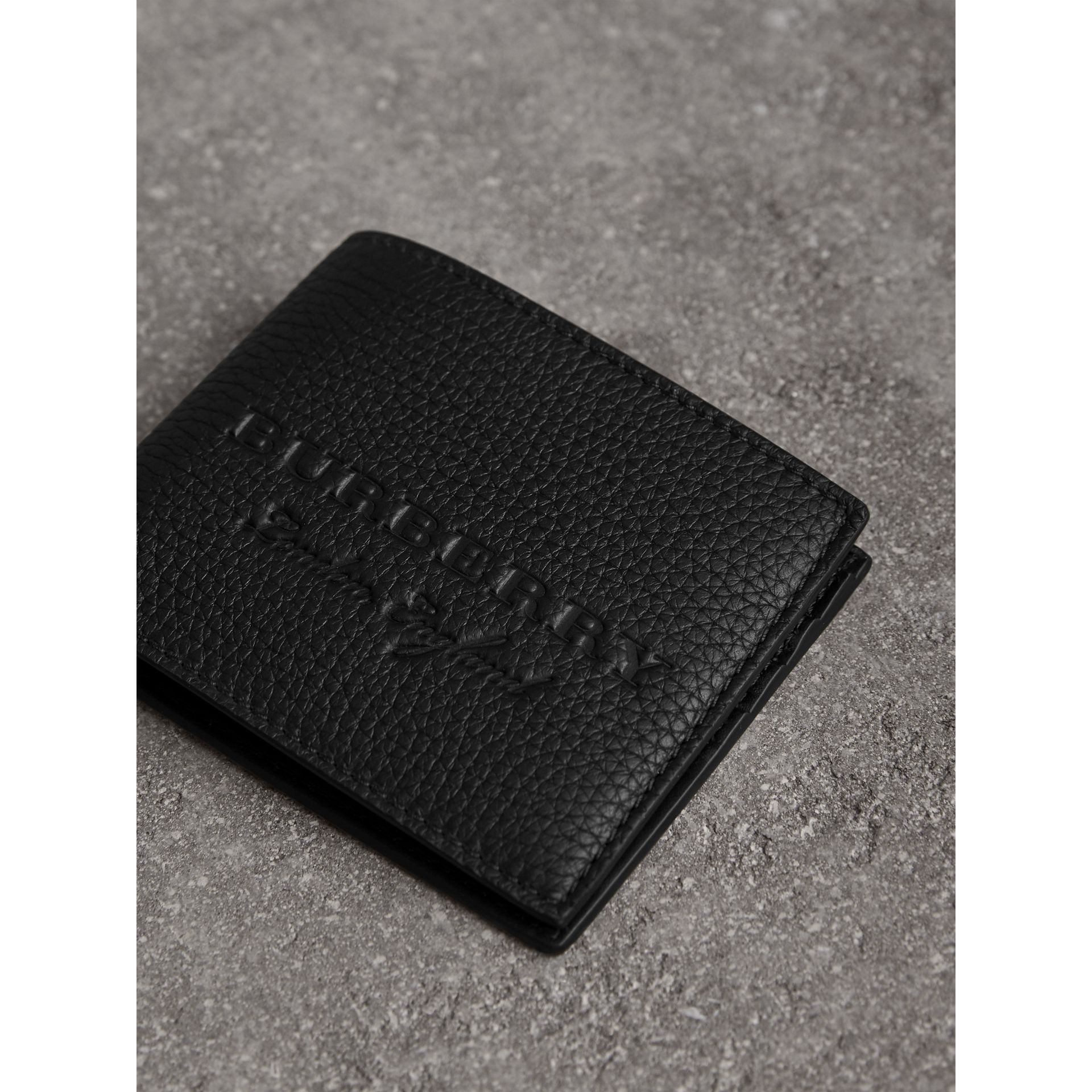 Textured Leather Bifold Wallet in Black - Men | Burberry United States - gallery image 1