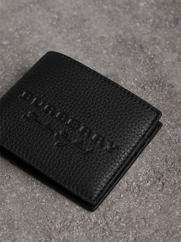 Textured Leather Bifold Wallet in Black - Men | Burberry - cell image 1