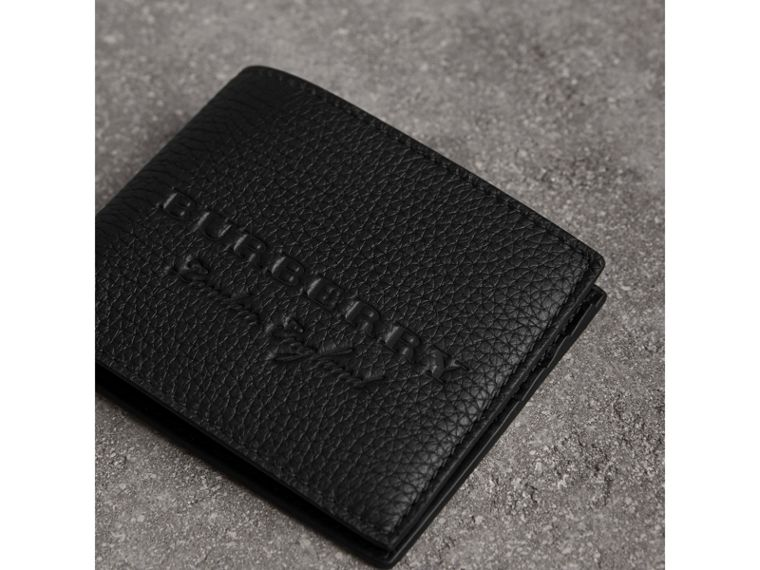 Textured Leather Bifold Wallet in Black - Men | Burberry United States - cell image 1