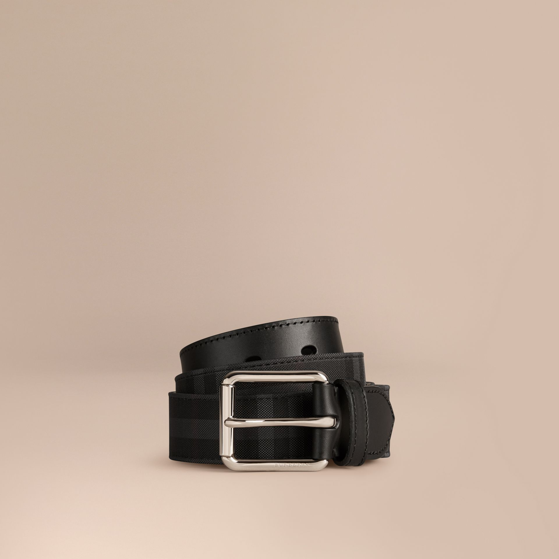 Charcoal/black Horseferry Check and Leather Belt Charcoal/black - gallery image 1