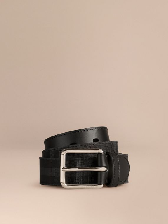 Horseferry Check and Leather Belt Charcoal/black