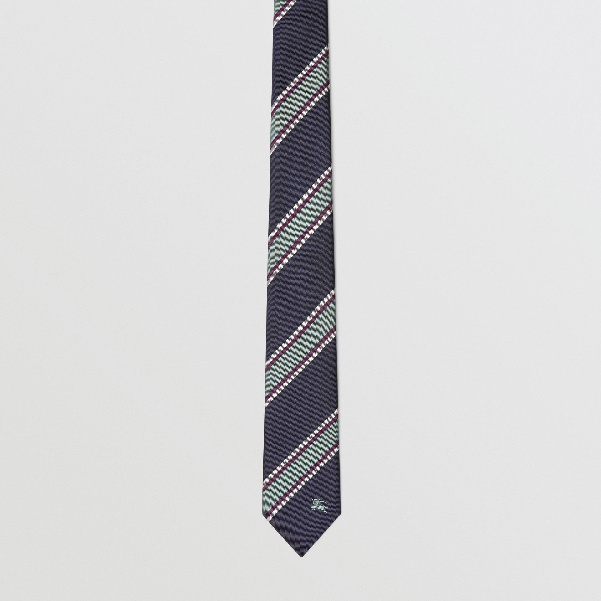 Slim Cut Striped Silk Jacquard Tie in Dark Indigo Blue - Men | Burberry - gallery image 4