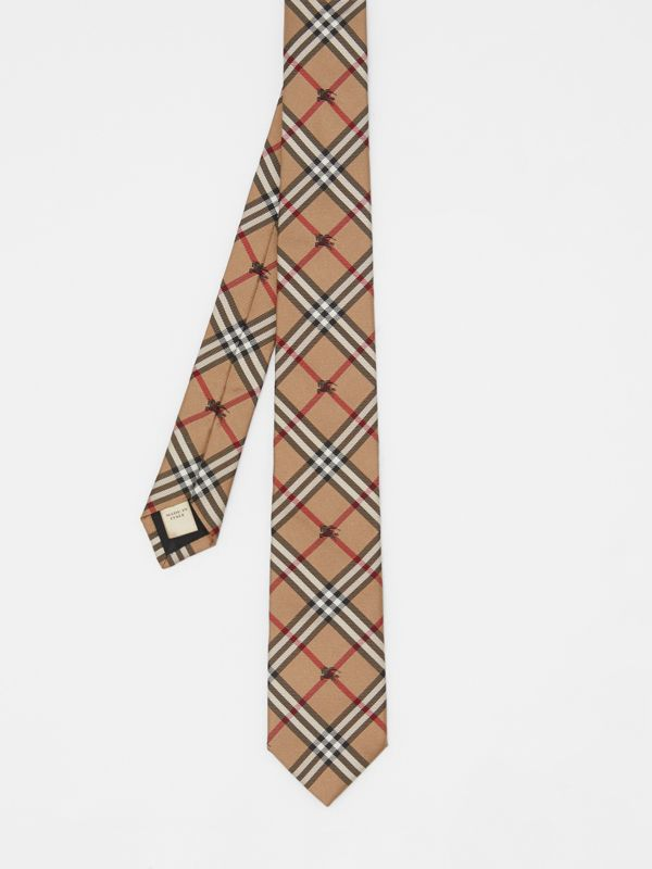Slim Cut Equestrian Knight Check Silk Tie in Camel - Men | Burberry - cell image 3