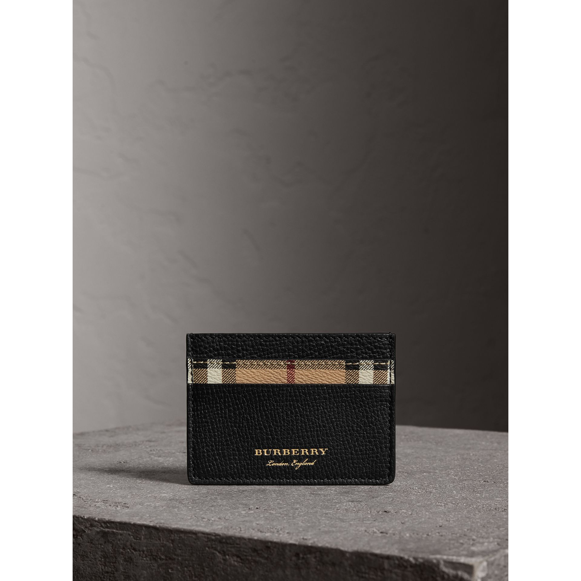 Haymarket Check and Leather Card Case in Black - Men | Burberry - gallery image 3