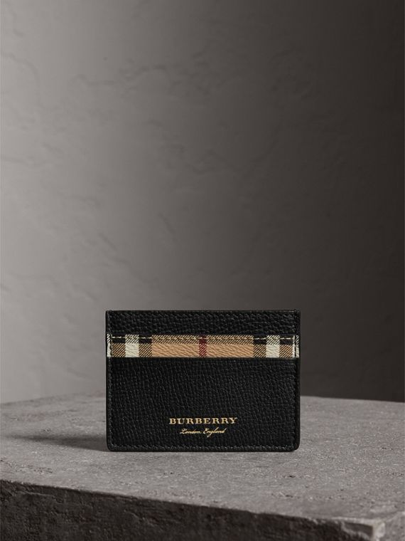 Haymarket Check and Leather Card Case in Black | Burberry - cell image 3