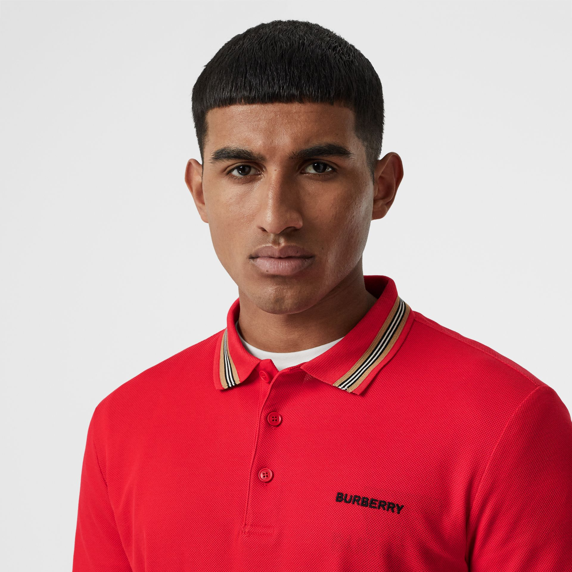 Icon Stripe Detail Cotton Piqué Polo Shirt in Bright Red - Men | Burberry Singapore - gallery image 1