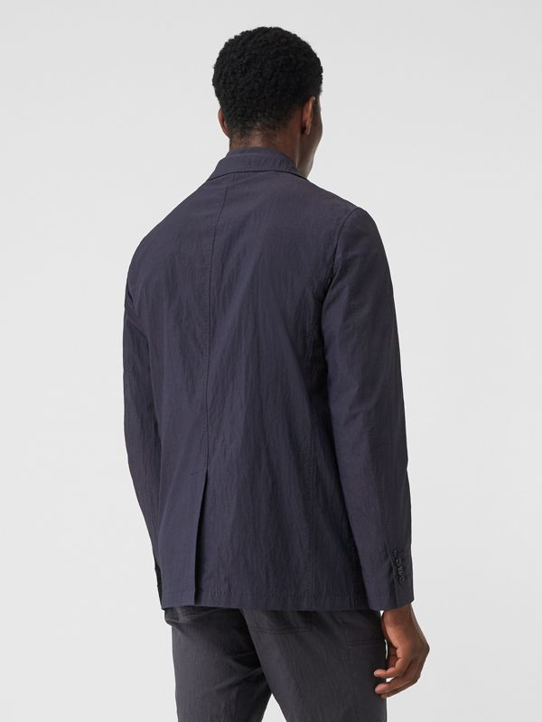 Crinkled Cotton Blend Tailored Jacket in Navy - Men | Burberry Hong Kong S.A.R - cell image 2