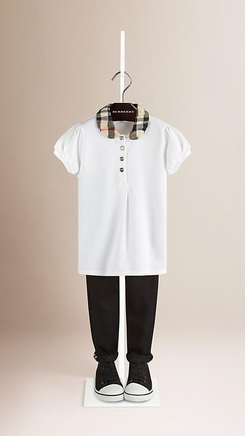 White Check Collar Polo Shirt - Image 1