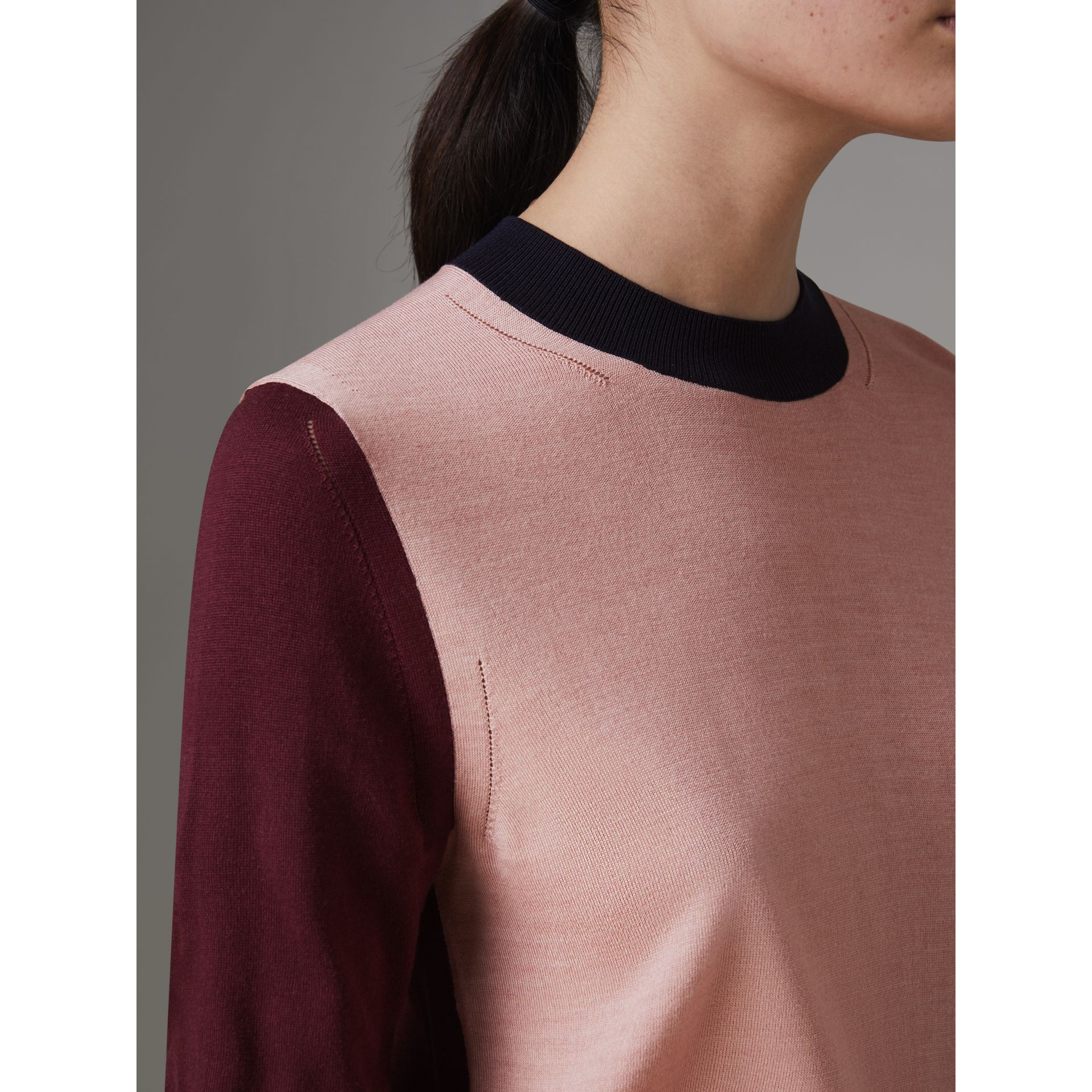 Colour Block Silk Cashmere Sweater in Pink Apricot - Women | Burberry United Kingdom - gallery image 1