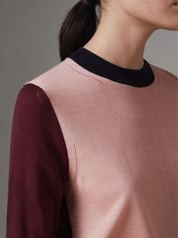 Colour Block Silk Cashmere Sweater in Pink Apricot - Women | Burberry United Kingdom - cell image 1