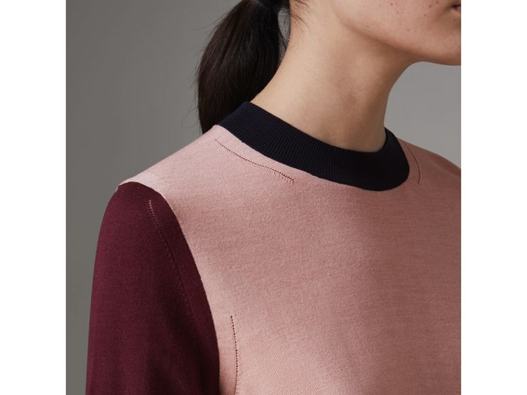 Colour Block Silk Cashmere Sweater in Pink Apricot - Women | Burberry - cell image 1