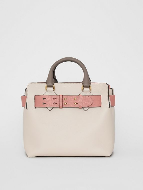 The Small Tri-tone Leather Belt Bag in Limestone/dusty Rose