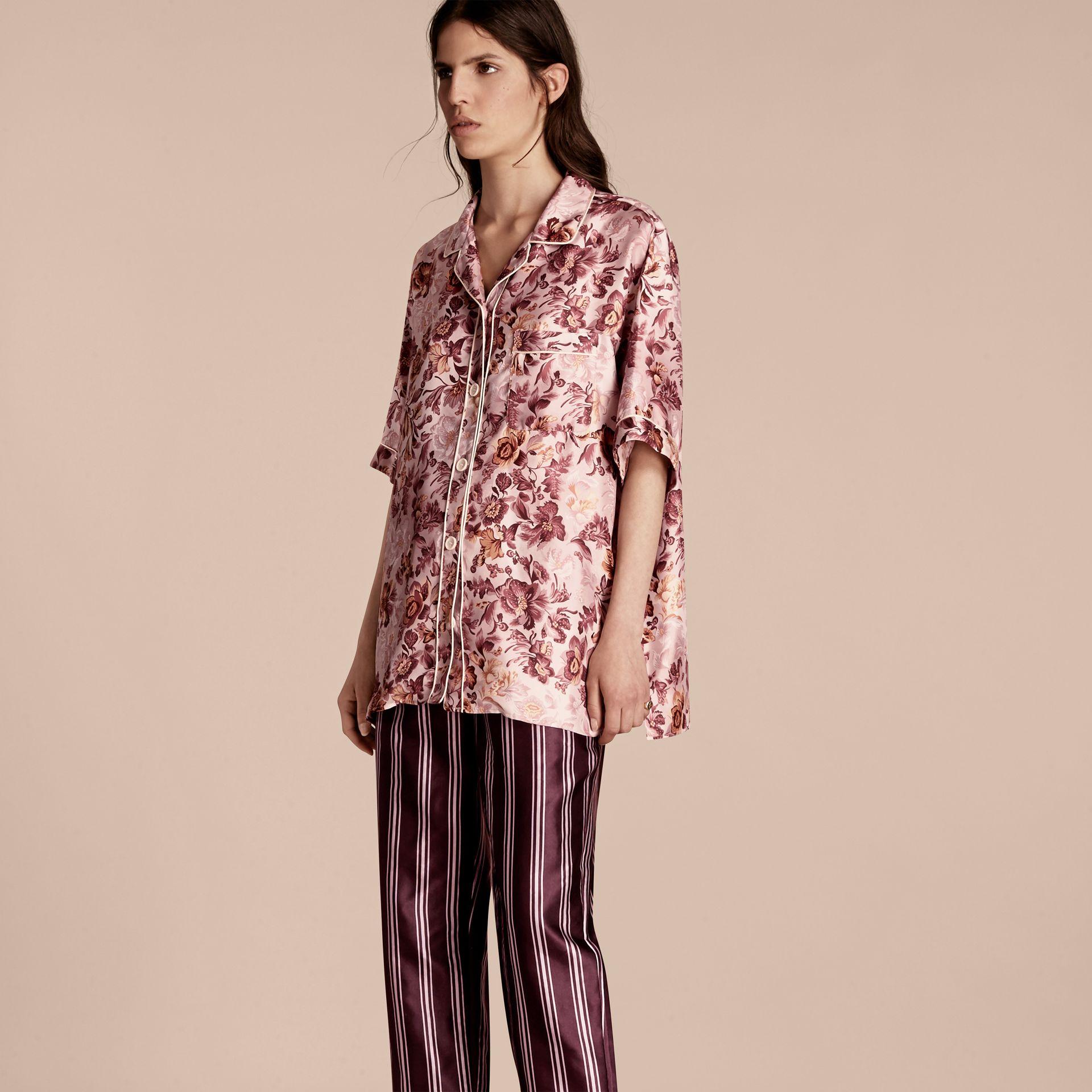 Pink heather Short-sleeved Floral Print Silk Pyjama-style Shirt Pink Heather - gallery image 1