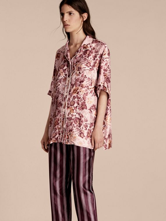 Short-sleeved Floral Print Silk Pyjama-style Shirt Pink Heather