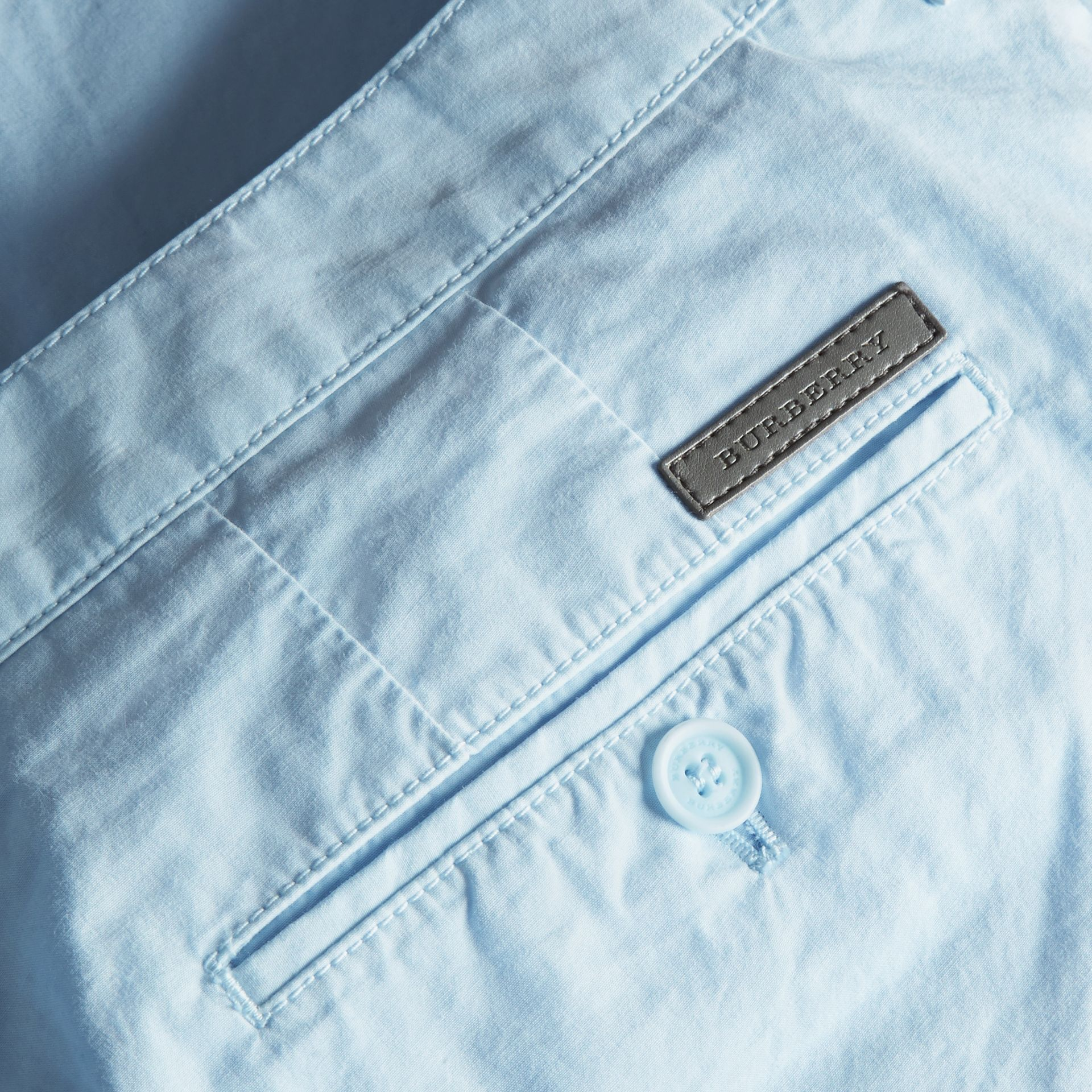 Cotton Poplin Chino Shorts Pale Opal Blue - gallery image 2