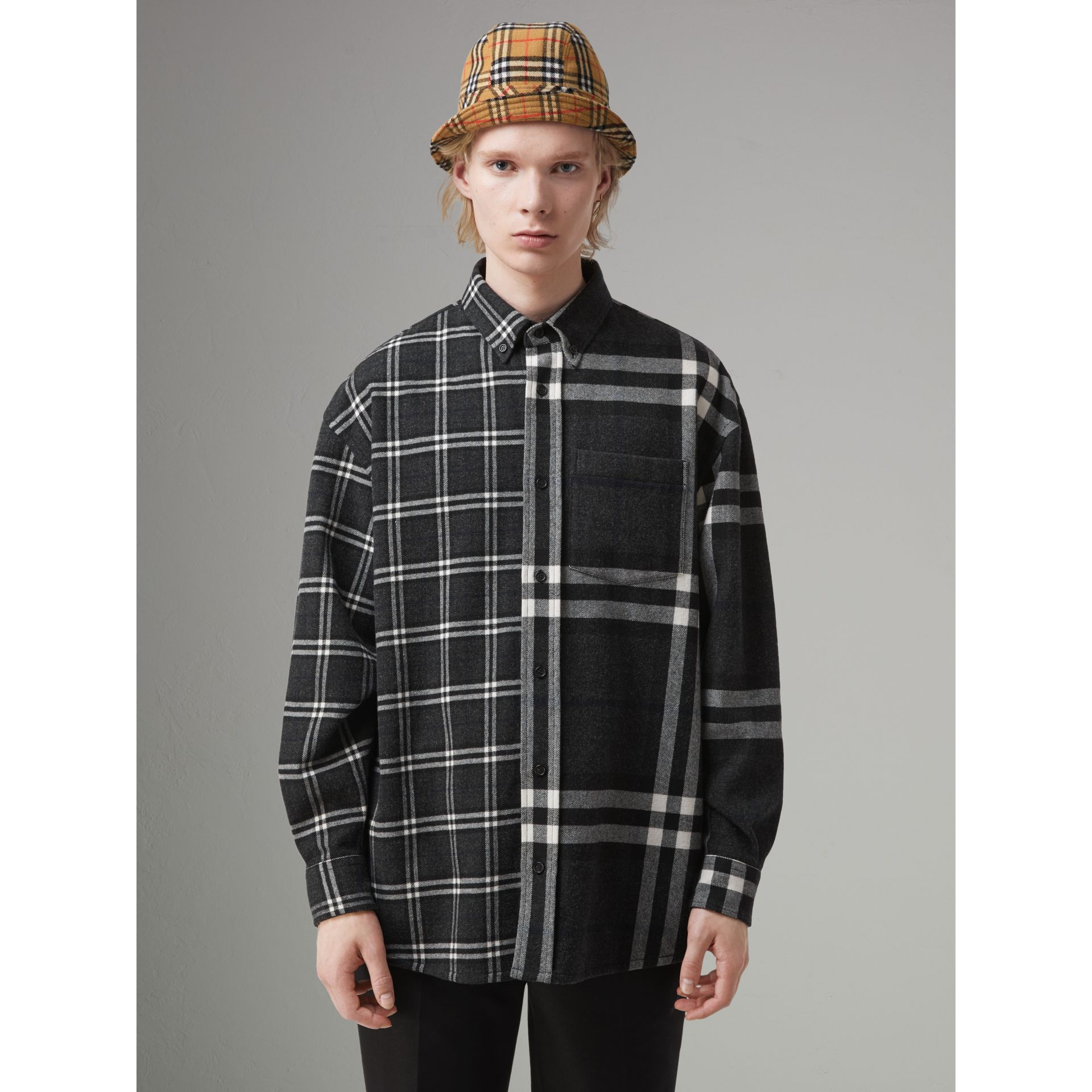 Gosha x Burberry Check Flannel Shirt in Charcoal | Burberry United States - gallery image 5