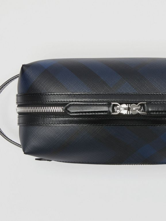 Trousse con pelle e motivo London check (Navy/nero) | Burberry - cell image 1