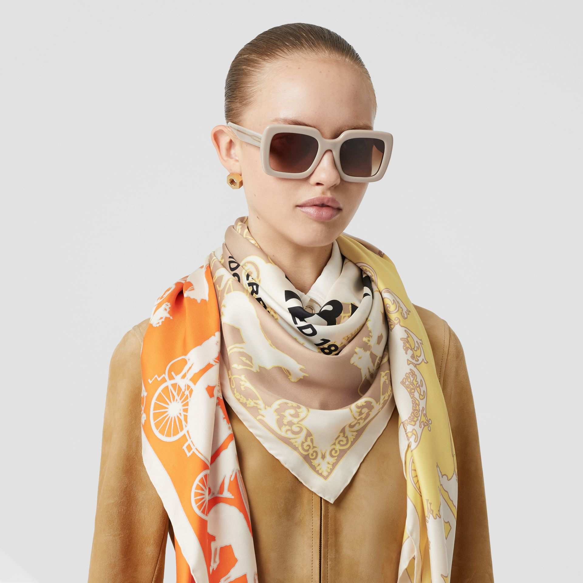 Archive Scarf Print Silk Large Square Scarf in Multicolour | Burberry - gallery image 2