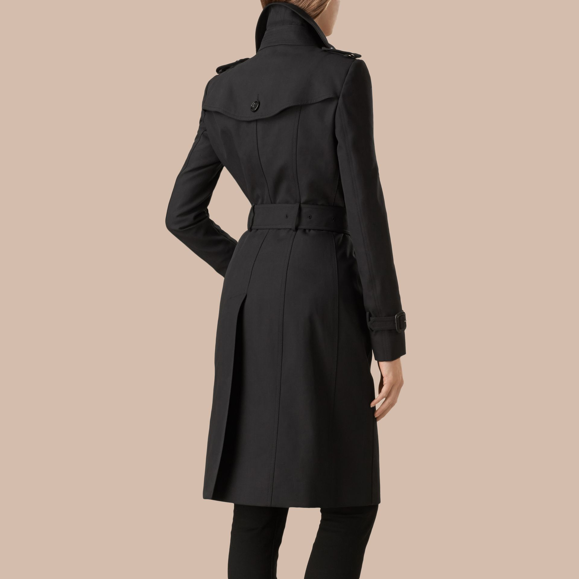 Black Cotton Gabardine Trench Coat Black - gallery image 4
