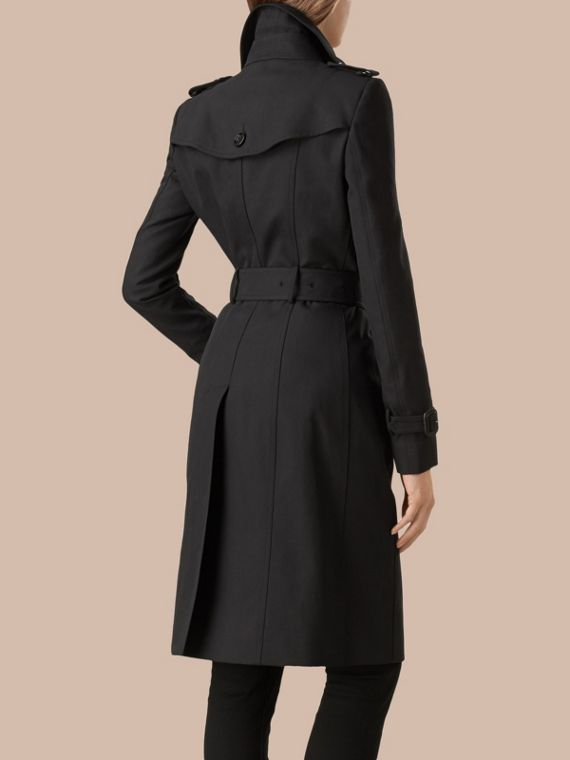 Preto Trench coat de gabardine de algodão Preto - cell image 3
