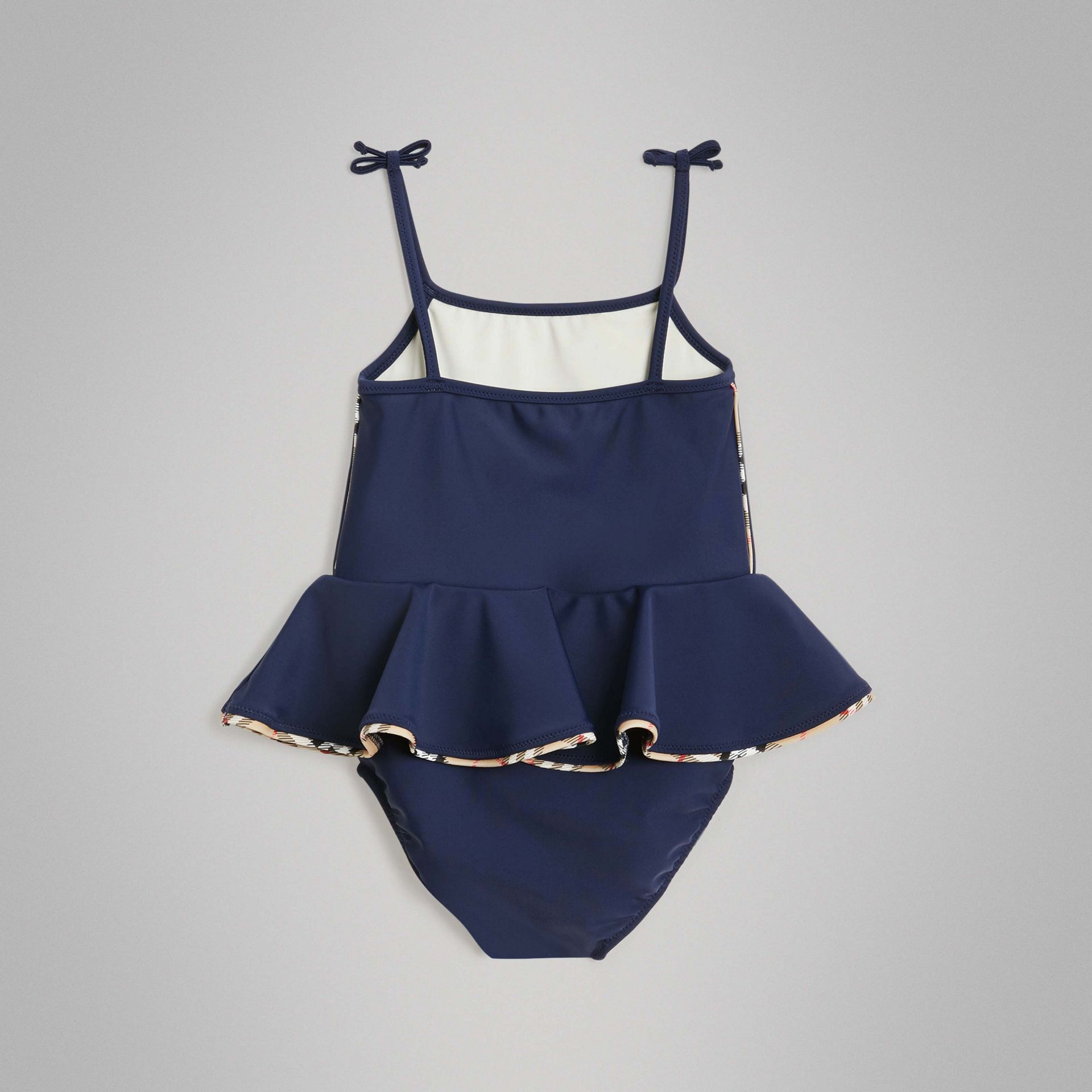Check Detail Peplum One-piece Swimsuit in Navy - Children | Burberry - gallery image 3