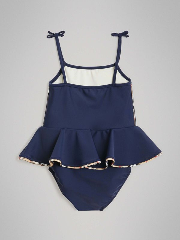Check Detail Peplum One-piece Swimsuit in Navy - Children | Burberry United Kingdom - cell image 3