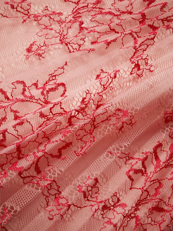 Pleated Lace Skirt in Pale Apricot/coral - Girl | Burberry - cell image 1