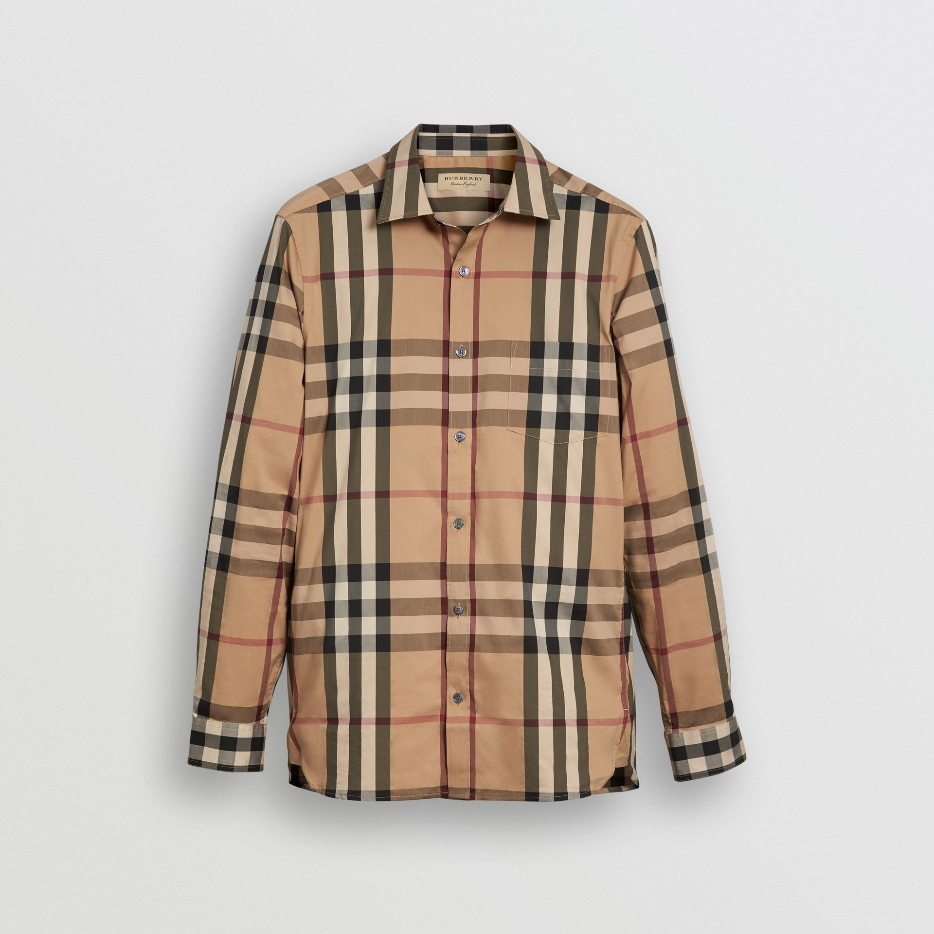 Check Stretch Cotton Shirt in Camel - Men | Burberry United States - gallery image 3