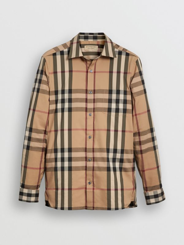 Check Stretch Cotton Shirt in Camel - Men | Burberry Hong Kong S.A.R - cell image 3