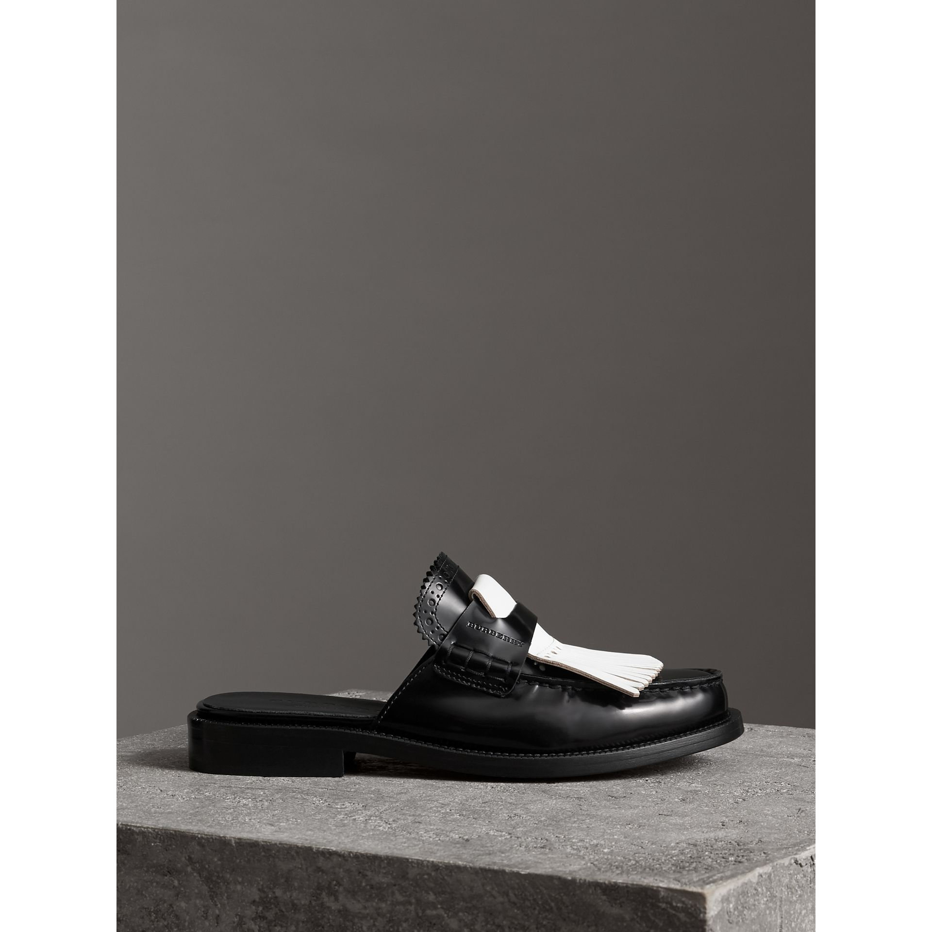 Contrast Kiltie Fringe Leather Mules in Black - Women | Burberry Australia - gallery image 4