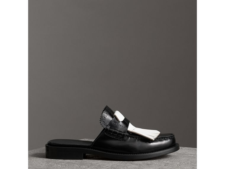 Contrast Kiltie Fringe Leather Mules in Black - Women | Burberry - cell image 4