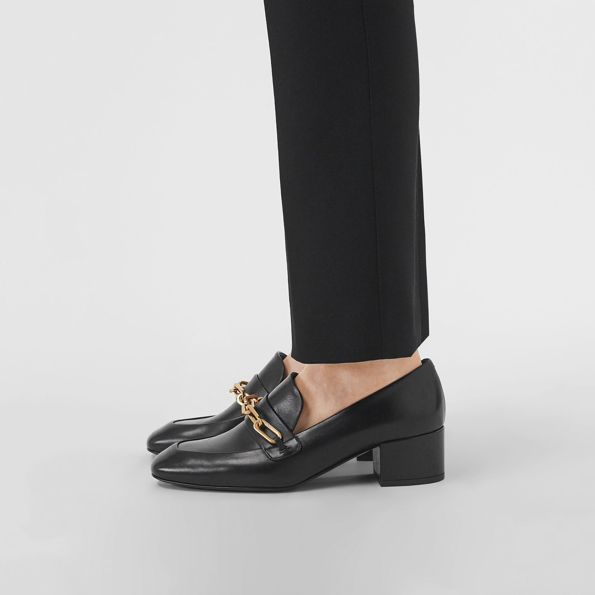Link Detail Leather Block-heel Loafers in Black - Women | Burberry - gallery image 2