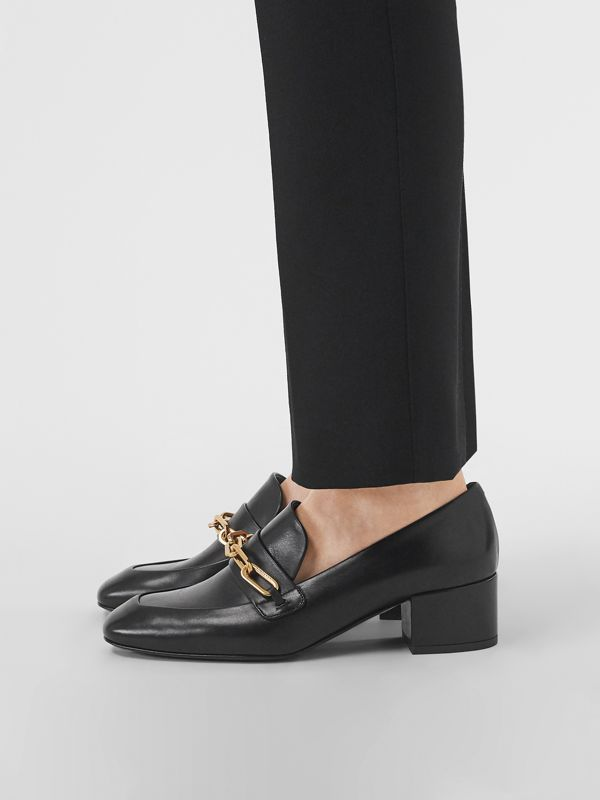 Link Detail Leather Block-heel Loafers in Black - Women | Burberry - cell image 2