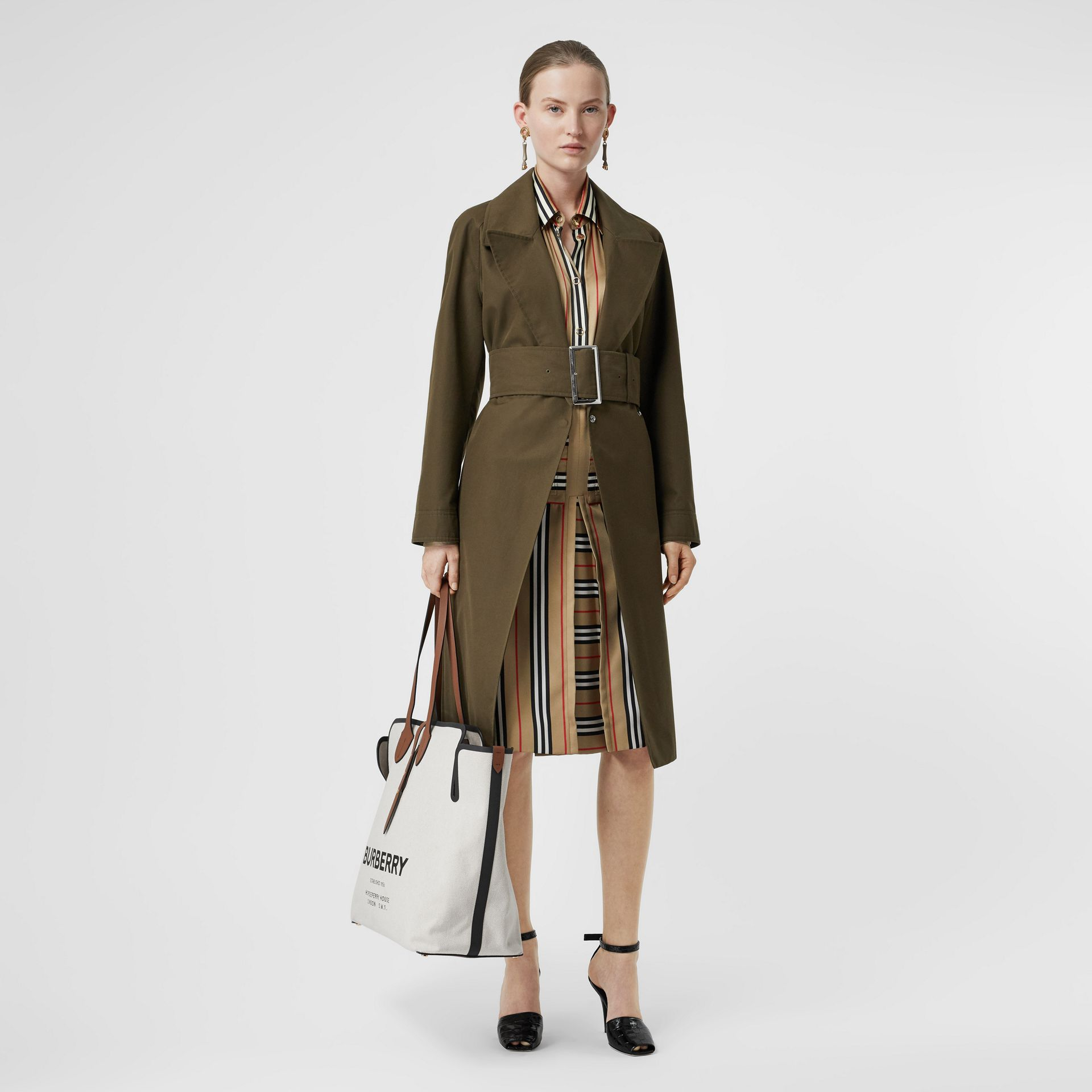 Box Pleat Detail Icon Stripe A-line Skirt in Archive Beige - Women | Burberry - gallery image 0