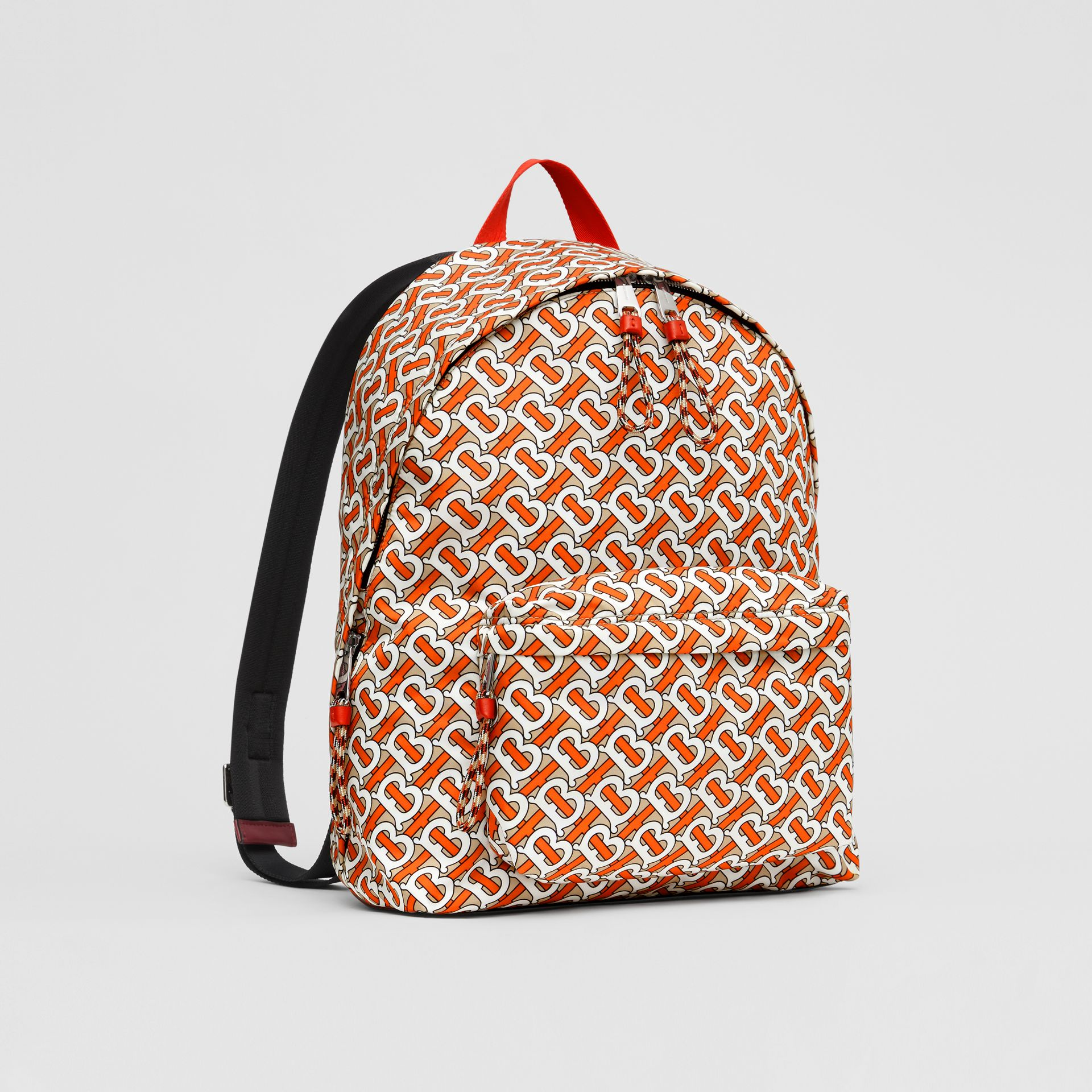 Monogram Print Nylon Backpack in Vermillion | Burberry - gallery image 8