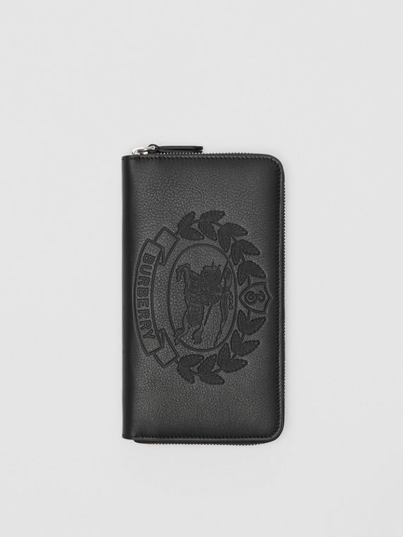 Embossed Crest Leather Ziparound Wallet in Black